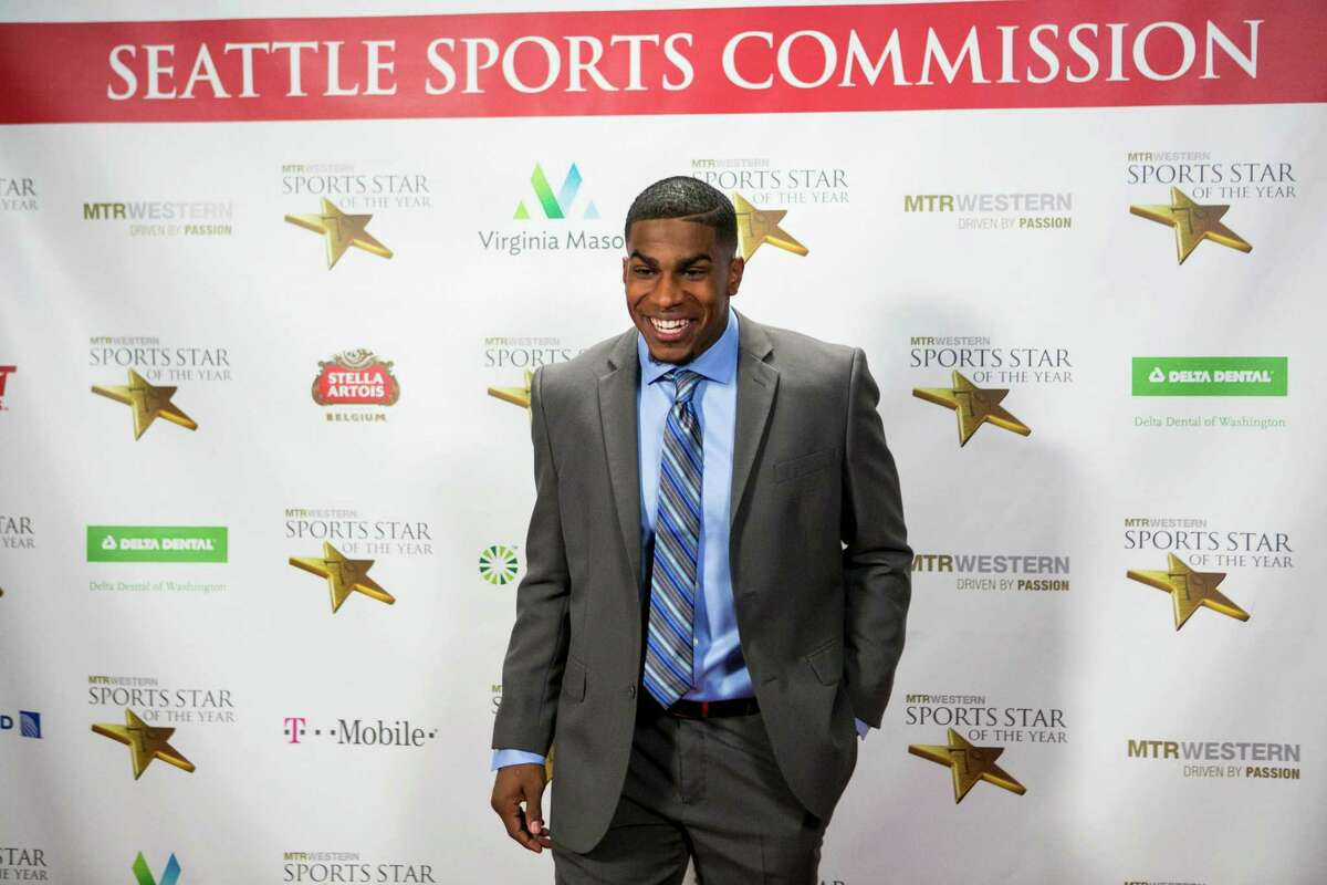 Former University of Washington running back Bishop Sankey poses on the red carpet during the 79th annual Sports Star of the Year awards on Wednesday, January 22, 2014 at Benaroya Hall in Seattle. The event, started by longtime P-I sports editor Royal Broughham, honors top local athletes.