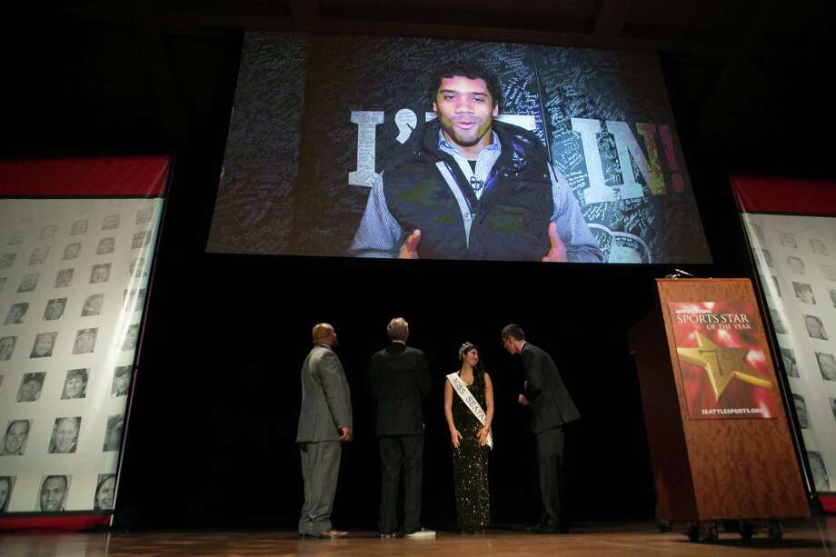 Seattle Seahawks quarterback Russell Wilson accepts the Male Sports Star of the Year Award via video during the 79th annual Sports Star of the Year awards.  Photo: JOSHUA TRUJILLO, SEATTLEPI.COM / SEATTLEPI.COM