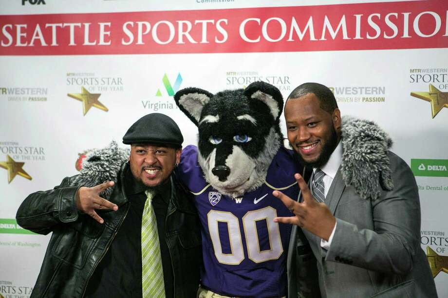 "Musicians Eric ""Keith"" Chaffer and La Vell ""Vellvett"" Walton pose on the red carpet with Harry the Husky. Photo: JOSHUA TRUJILLO, SEATTLEPI.COM / SEATTLEPI.COM"