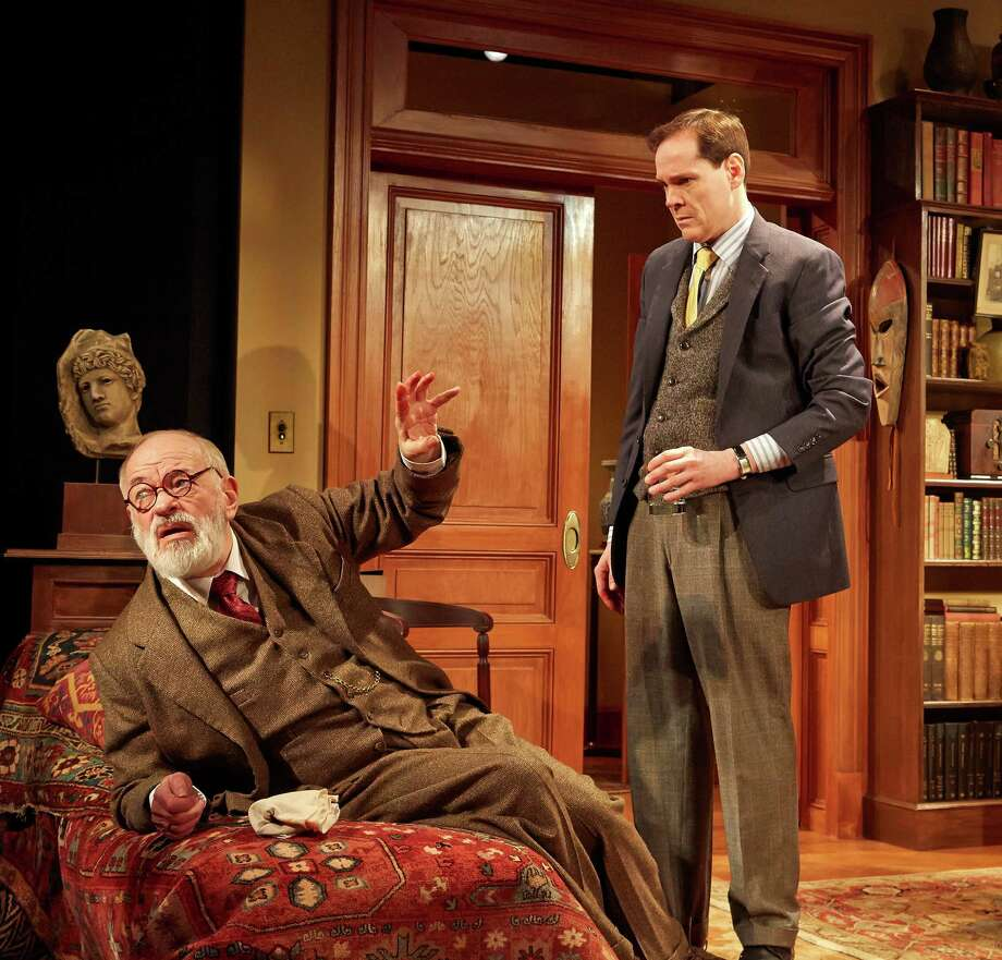 "An imagined meeting between Sigmund Freud (Kenneth Tigar, left) and C.S. Lewis (Jonathan Crombie) is the subject of Mark St. Germain's long-running off Broadway hit ""Freud's Last Session,"" which is being presented at TheaterWorks Hartford through Feb. 23. Photo: Contributed Photo / Connecticut Post Contributed"