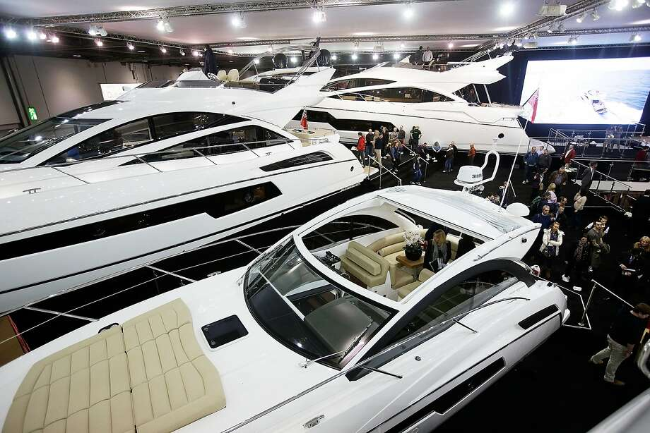 The display of British yacht manufacturer Sunseeker at the London Boat Show where maritime equipment from yachts to dinghies was shown and sold. Photo: Matthew Lloyd, Getty Images