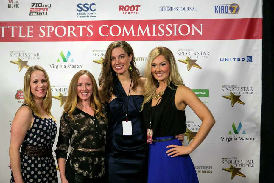 From left, former UW rowing members Lacy Kemp, Mary Whipple, Jenni Hogan and Briana Bowers pose on the red carpet. Photo: JOSHUA TRUJILLO, SEATTLEPI.COM / SEATTLEPI.COM