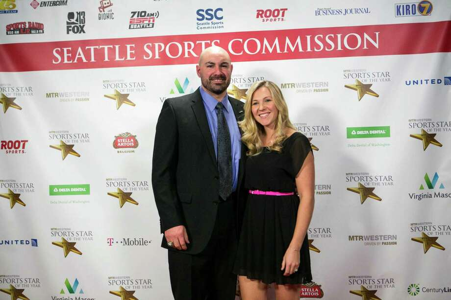 Former Seahawks player Joe Tafoya and Brandelyn Tafoya stop on the red carpet. Photo: JOSHUA TRUJILLO, SEATTLEPI.COM / SEATTLEPI.COM