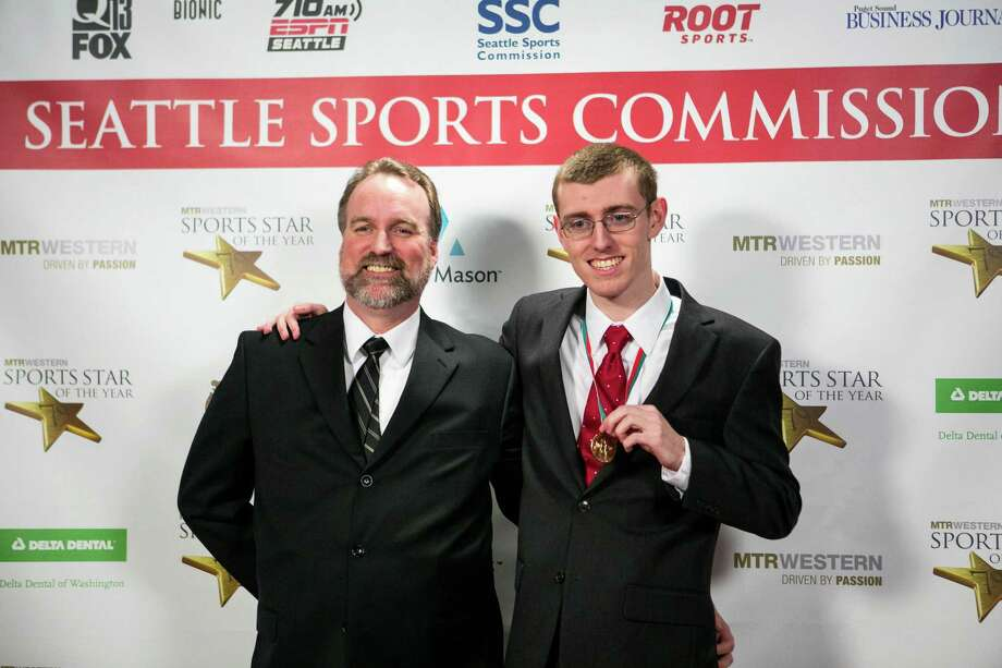 Tom May and golfer Tyler May stop on the red carpet during the 79th annual Sports Star of the Year awards. Photo: JOSHUA TRUJILLO, SEATTLEPI.COM / SEATTLEPI.COM