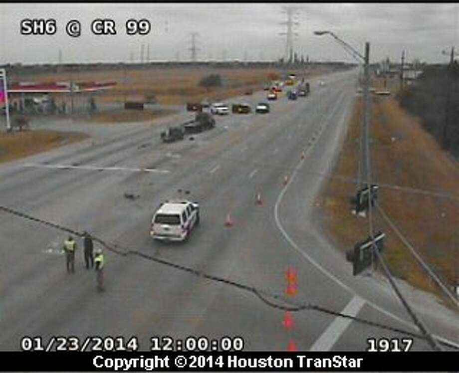 Portions of Texas 6 near County Road 99 in Brazoria County were shut down after a traffic crash Thursday morning. Photo: Houston Transtar
