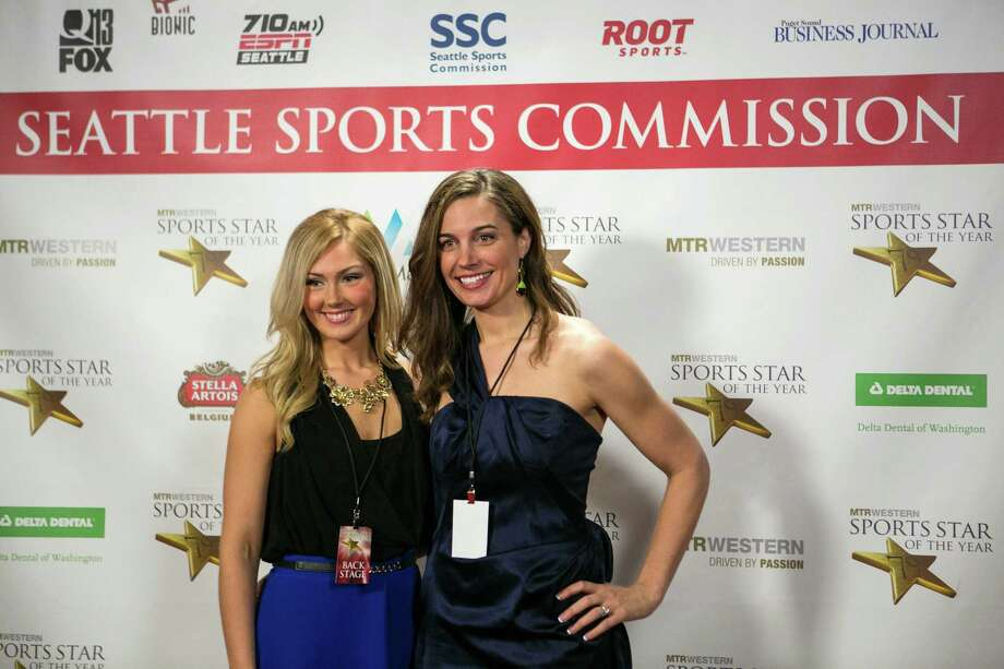 From left, former UW rowing members Briana Bowers and Jenni Hogan pose on the red carpet. Photo: JOSHUA TRUJILLO, SEATTLEPI.COM / SEATTLEPI.COM