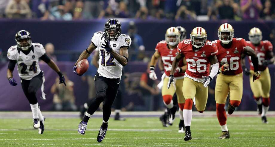 14. Super Bowl XLVIIBaltimore 34, San Francisco 31:  Jacoby Jones' 108-yard kickoff return put the Ravens up 28-6 early in the third quarter, but after a 34-minute delay due to a power outage, the 49ers staged a furious comeback. A missed two-point conversion could have tied the game with five minutes left, but the Ravens held on to send Ray Lewis into retirement with a ring. Photo: Ezra Shaw, Ezra Shaw/Getty Images / 2013 Getty Images