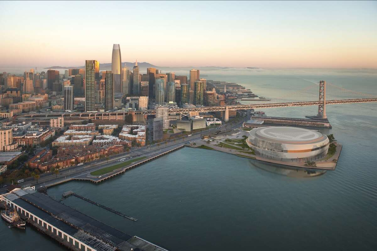 Aerial view of the Golden State Warriors proposed arena and neighboring development across the Embarcadero. Proposition B would limit high-rise development on the waterfront.