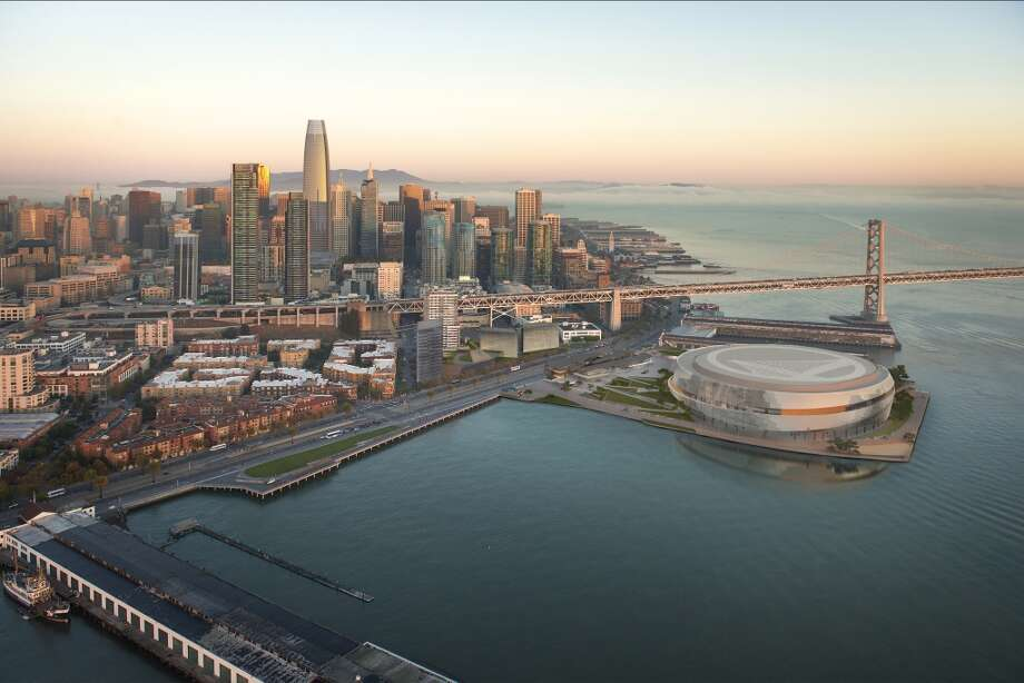 Aerial view of the Golden State Warriors proposed arena and neighboring development across the Embarcadero. Proposition B would limit high-rise development on the waterfront. Photo: Warriors/Snohetta/steelblue