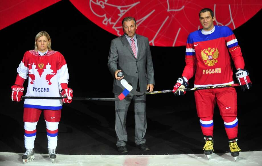 Now these are cool: The Russian Ice Hockey Olympic uniform is the leader of the pack so far. Great use of a national seal. (ALEXANDR KAZAKOV/AFP/Getty Images) Photo: AFP, AFP/Getty Images