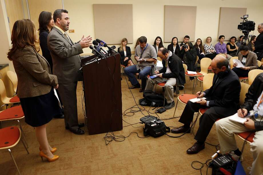 Senior attorney Paul Chavez at Lawyers' Committee for Civil Rights talks about the government's ending the practice of shackling immigrants in courtrooms during deportation hearings after an ACLU lawsuit. Photo: Beck Diefenbach, Special To The Chronicle