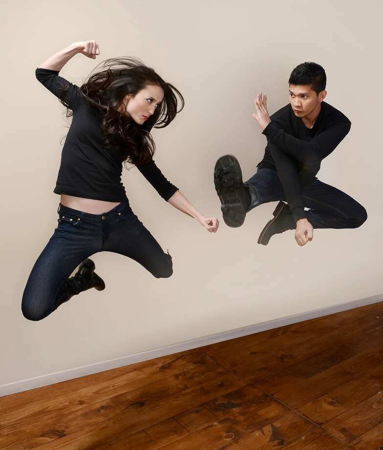 Just for kicks, actors Julie Estelle and Iko Uwais have their portraits taken at the Sundance Film Festival in Park City, Utah. Photo: Larry Busacca, Getty Images