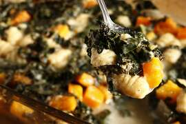 Baked gnocchi with butternut squash and kale as seen in San Francisco, California on Wednesday, January 22, 2014. Food styled by Amanda Gold.