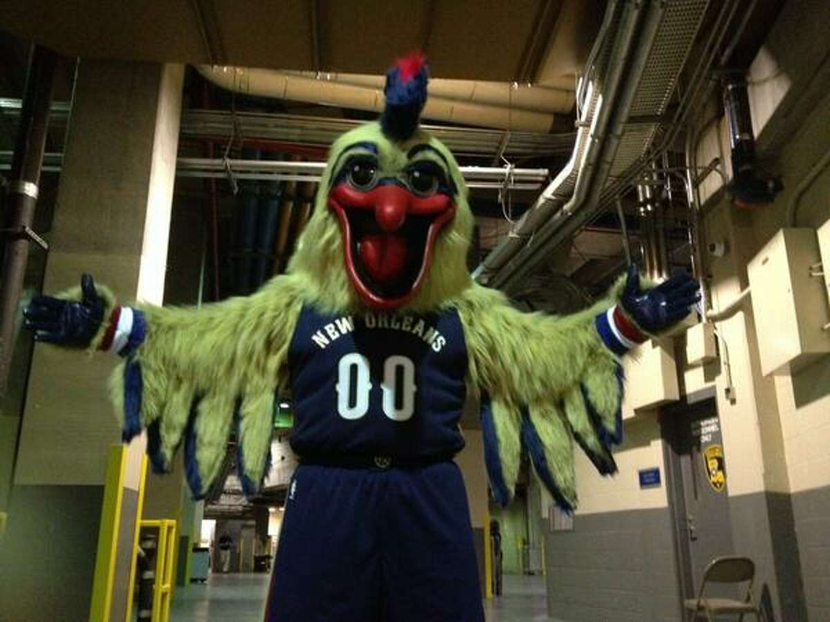 The NBA's New Orleans Pelicans want to ditch the design for their mascot Pierre because many people complain it looks to creepy. If you're going to have a creepy-looking mascot, why take his official debut photo in a dark, dank stadium corridor. (photo via @PelicansNBA on Twitter)