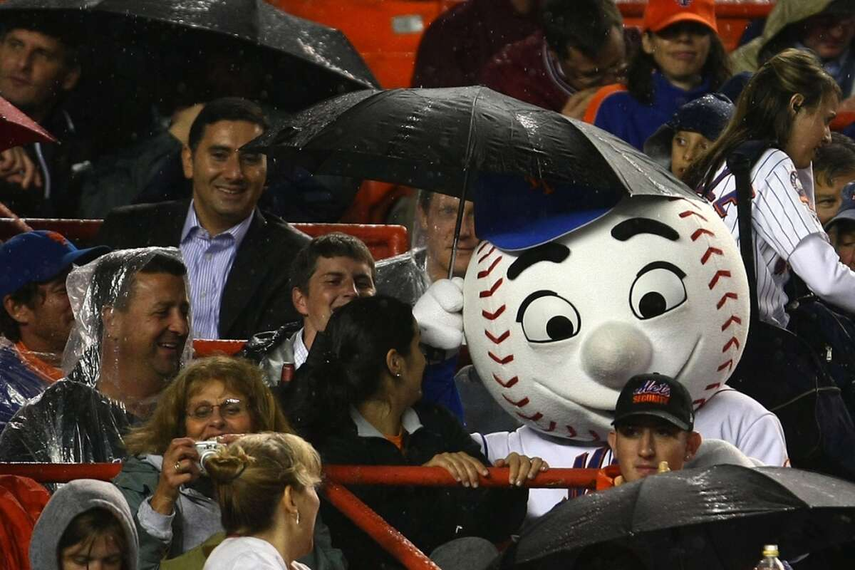 """Mr. Met of the New York Mets has a dangerously high """"sneak up from behind and scare the heck out of you"""" factor. (Photo by Chris McGrath/Getty Images)"""