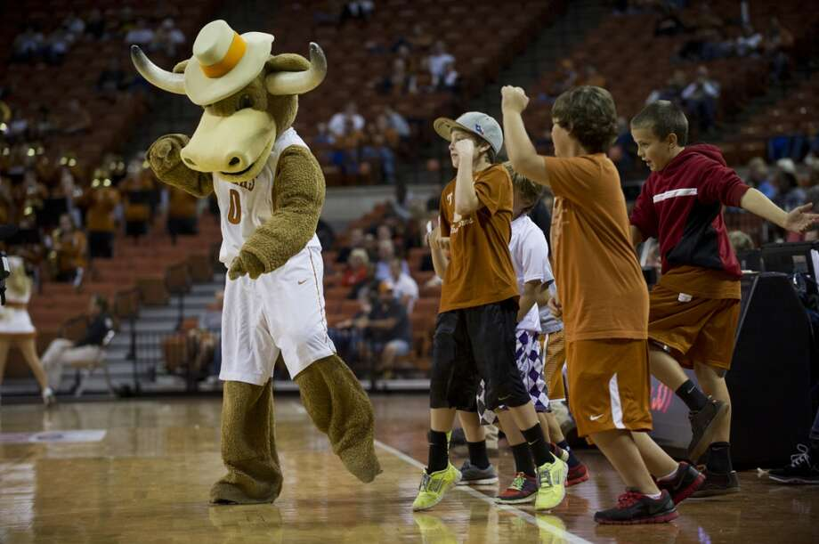 The University of Texas' Hook 'Em is a weak mascot made even weaker when compared to how cool the Longhorns' live mascot Bevo is. Hook 'Em's hat is way too undersized for his head, his body looks like he's just wearing a brown sweatsuit that's starting to pill and he has no muscular definition at all. Photo: Cooper Neill, Getty Images