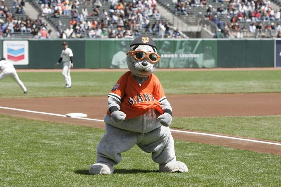 Lose the sunglasses and explain to us why you have legs, then we'll talk, Lou Seal of the San Francisco Giants. Photo: Rich Pilling, MLB Photos Via Getty Images