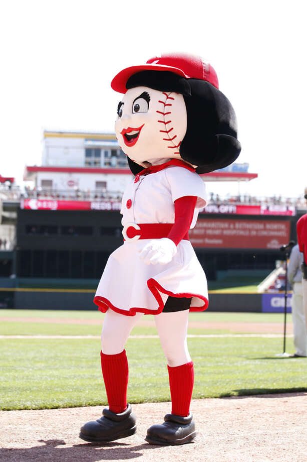 Note to the Cincinnati Reds: Tarting up your female mascot with curves, long hair and makeup only works for fans physically attracted to pasty women with red stitches on their face. Photo: Joe Robbins, Getty Images / 2010 Joe Robbins