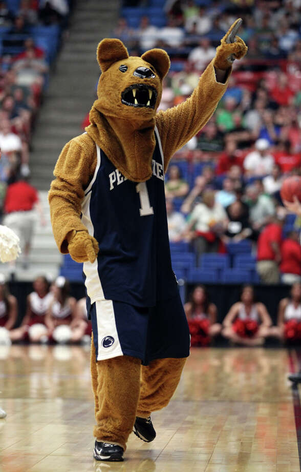 For a mascot that likes to brag about its strength by doing one-arm pushups, Penn State's Nittany Lion is sorely lacking in the muscles department. Also, tuck in that neck-piece; you look sloppy. Photo: Christian Petersen, Getty Images / 2011 Getty Images