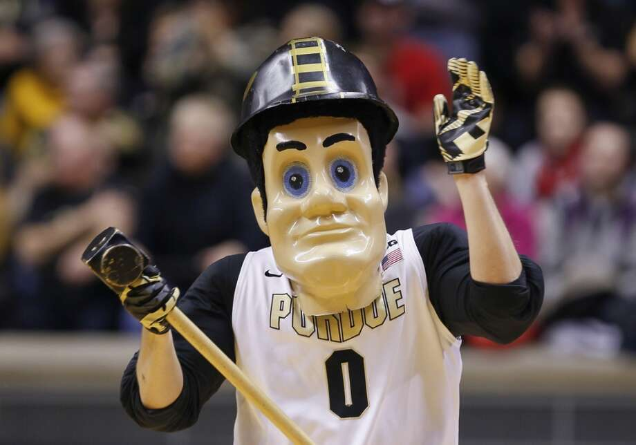 Dead-eyed Purdue Pete is straight-up creepy with his cheap-looking mask and lack of costume otherwise. Photo: Michael Hickey, Getty Images