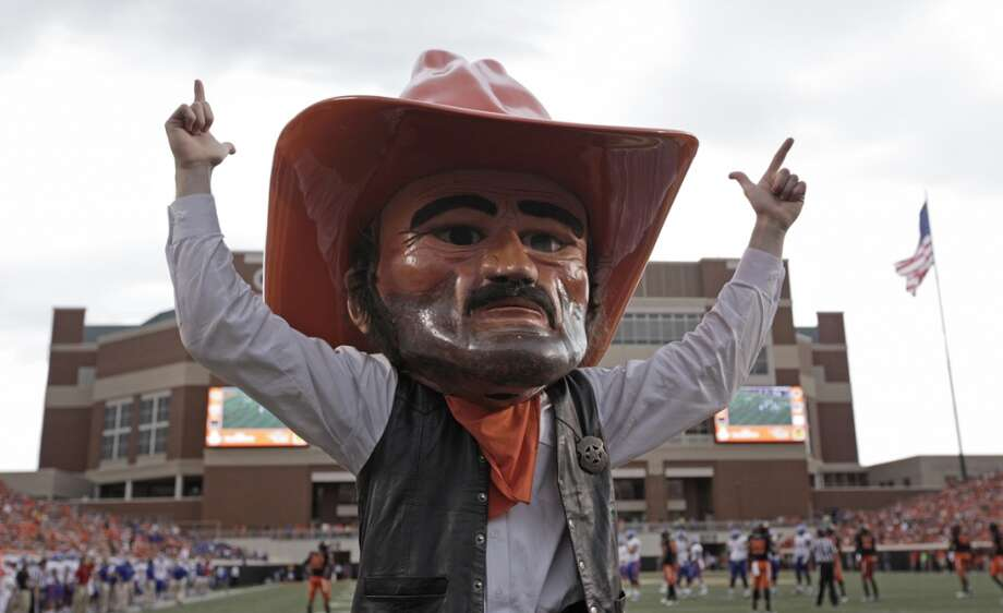 Oklahoma State's Pistol Pete isn't much better, and he looks kind of dirty. Mascot faces should be fuzzy, not shiny. Photo: Brett Deering, Getty Images
