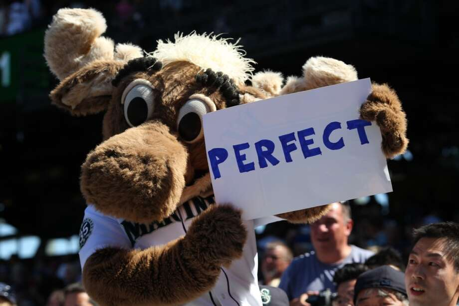 Seattle's Mariner Moose may look a little like Bullwinkle, but he's still a mascot that ranks high on the cuteness scale. Photo: Otto Greule Jr, Getty Images