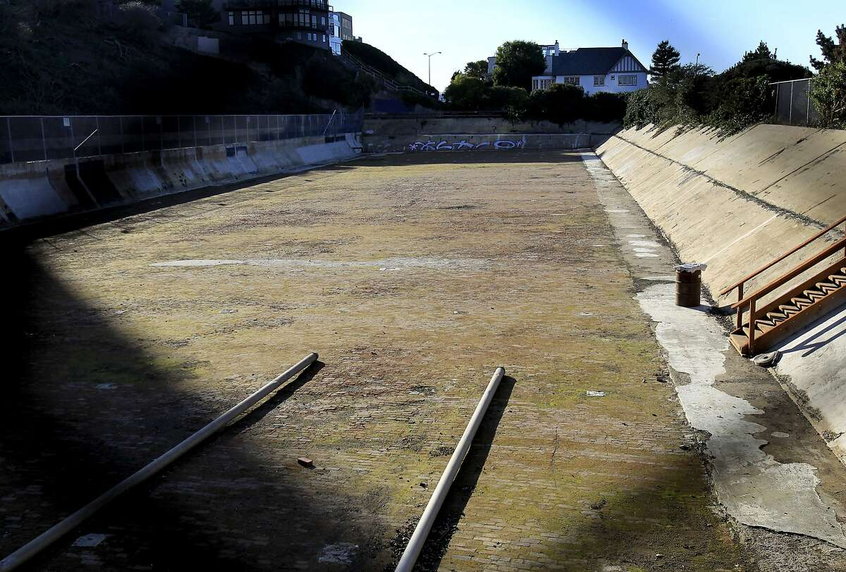 The park plan, although not approved, would call for the reservoir to be filled in and the land terraced in San Francisco, Calif. Neighbors are raising money to convert an old reservoir, next to the Hyde Street cable car line, into a park with views of the Golden Gate Bridge and the east bay.