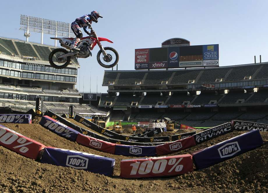 Justin Barcia - flying high on his Honda CRF 450 during practice Thursday. Photo: Paul Chinn, The Chronicle