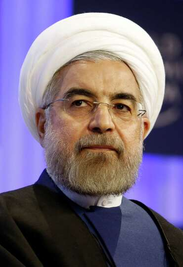Hassan Rouhani, Iran's president, pauses during a session on day two of the World Economic Forum (WE