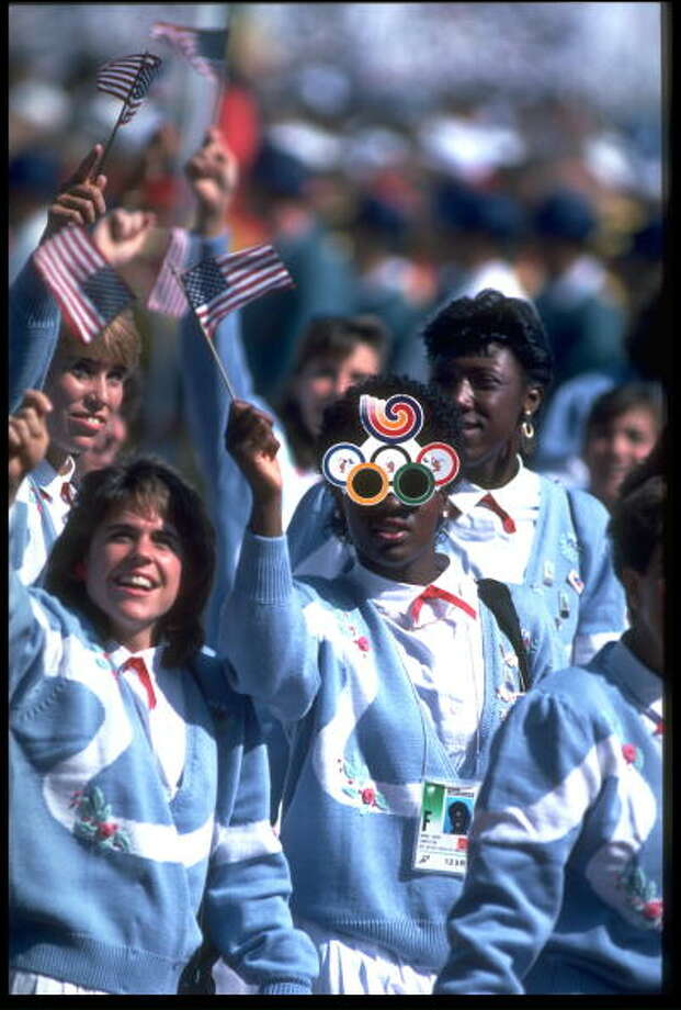 The team from the U.S. waving the flag and enjoying themselves at the opening ceremony 1988 Summer Olympics held in Seoul, South Korea. Photo: Russell Cheyne, Getty Images / Getty Images Europe