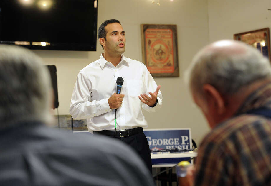 Nephew of former President George W. Bush, George P. Bush spoke at Roberts Meat Market in Orange on Monday during his campaign race for the Texas General Land Office. Bush will face Republican, David Watts in the March primary. The winner will face Democratic candidate John Cook in the November general election.   Photo taken Thursday, January 23, 2014 Guiseppe Barranco/@spotnewsshooter Photo: Guiseppe Barranco, Photo Editor