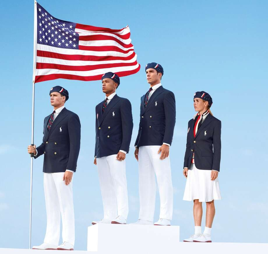This product image released by Ralph Lauren shows U.S. Olympic  athletes, from left, swimmer Ryan Lochte, decathlete Bryan Clay, rower Giuseppe Lanzone and soccer player Heather Mitts  modeling the the official Team USA Opening Ceremony Parade Uniform. As an official outfitter of the U.S. Olympic and Paralympic Teams, Ralph Lauren has designed Team USA's Official Opening and Closing Ceremony Parade Uniforms as well as a unique collection of village wear apparel and accessories which embodies the spirit of American athleticism and sportsmanship. (AP Photo/Ralph Lauren) Photo: Associated Press