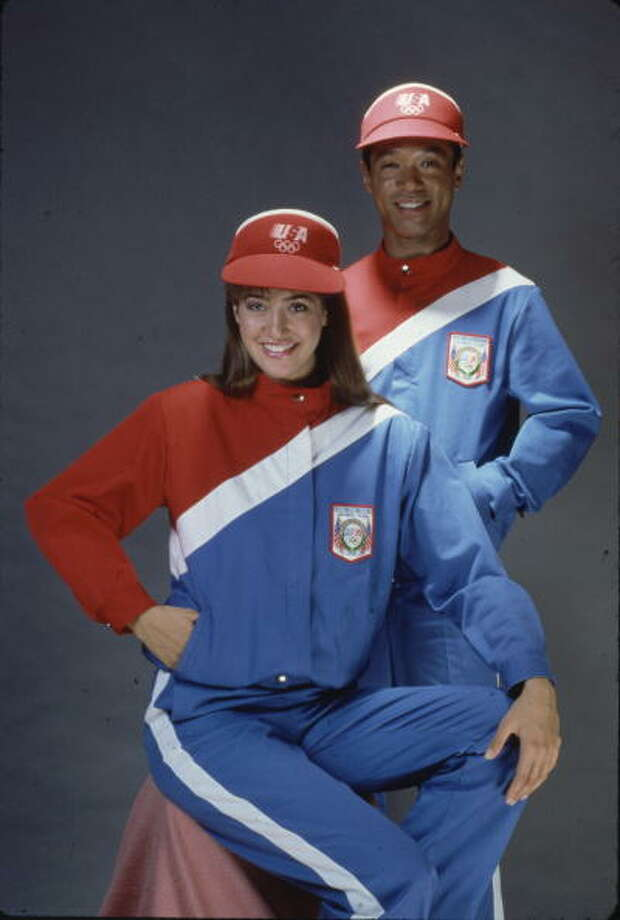 Outfit designed by Levi Strauss to be worn during the opening ceremonies for the Los Angeles 1984 Olympics  ( Ted Thai/Time & Life Pictures/Getty Images) Photo: Ted Thai, Time Life Pictures/Getty Images / Time & Life Pictures