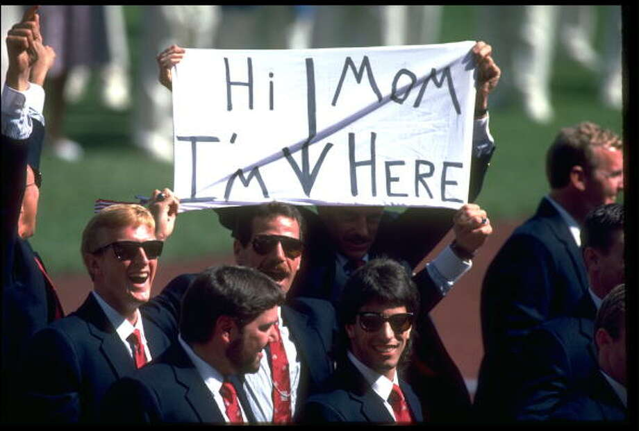 A member of the U.S. Olympic Squad sends a message to his mother during the opening ceremony of the 1988 Summer Olympics held in Seoul, South Korea. Photo: Joe Patronite, Getty Images / Getty Images Europe