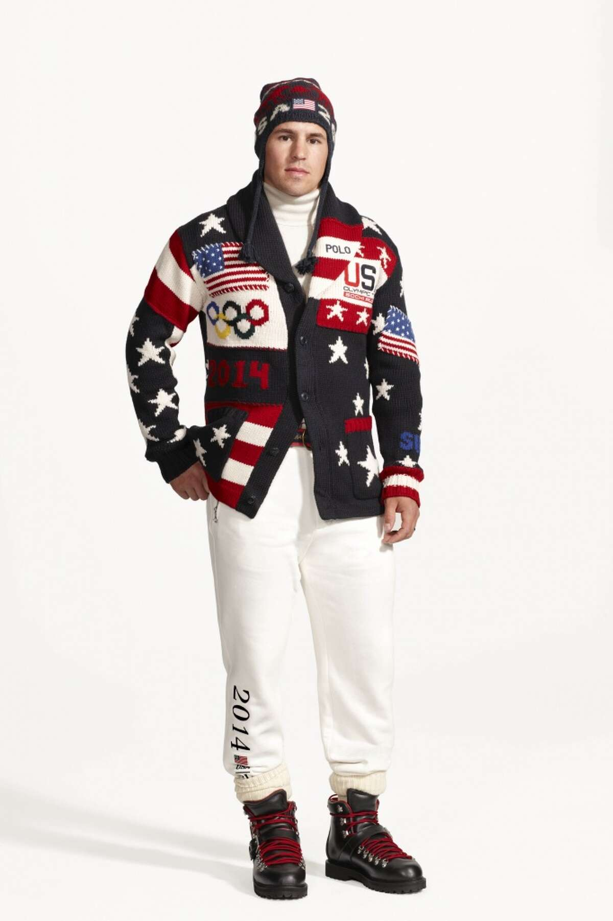 This product image released by Ralph Lauren shows American hockey player Zach Parise wearing the official uniform for Team USA to be worn at the opening ceremony for the 2014 Winter Olympic games in Sochi, Russia. Every article of clothing made by Ralph Lauren for the U.S. Winter Olympic athletes in Sochi, including their opening and closing ceremony uniforms and their Olympic Village gear, has been made by domestic craftsman and manufacturers. (AP Photo/Ralph Lauren)