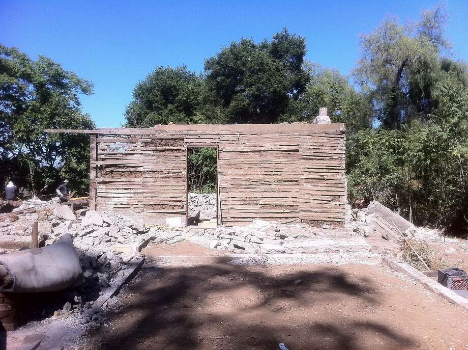 The front wall of the Juana Briones home in the Palo Alto hills, built in the 1840s, was saved from the wrecking ball. Photo: Jim Steinmetz, California Historical Society