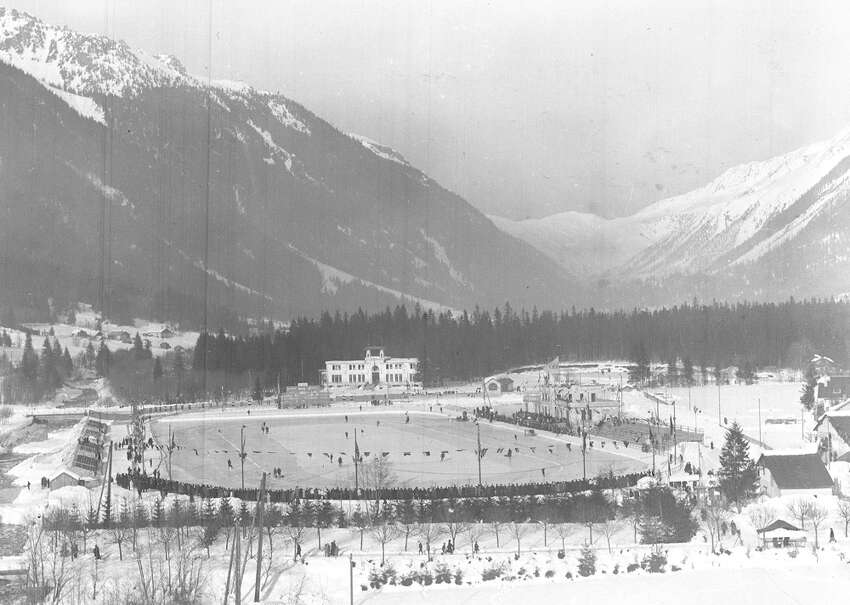 The Olympic Stadium at Chamonix, France, is seen in 1924.