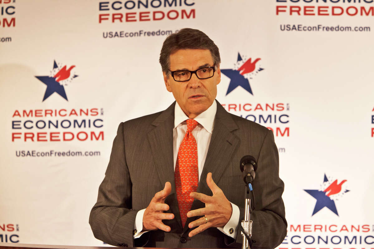 GOP05/06 Texas Governor Rick Perry speaking a press conference. California Republican Party convention at the Anaheim Hilton.