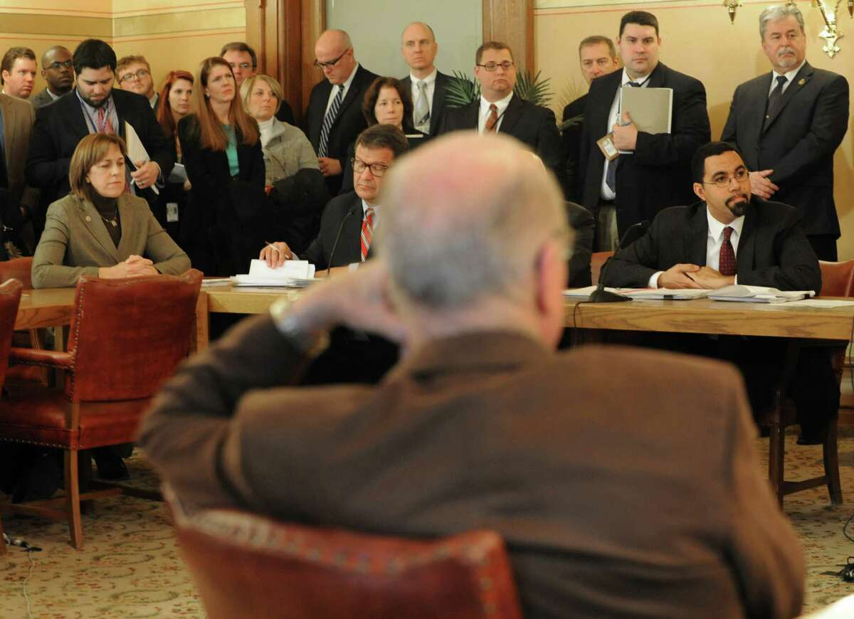 NYS Education Commissioner John King, sitting at right, holds a meeting with his committee at the Capitol on Thursday, Jan. 23, 2014 in Albany, N.Y. (Lori Van Buren / Times Union)