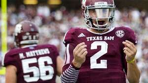 Texas A&M quarterback Johnny Manziel celebrates a touchdown.