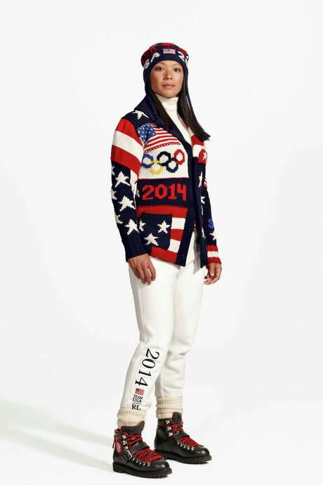 Hockey player Julie Chu models the uniform, designed by Ralph Lauren, that Team USA will wear to the Opening Ceremony for the Winter Olympics at Sochi, Russia. Photo: HOEP / Ralph Lauren