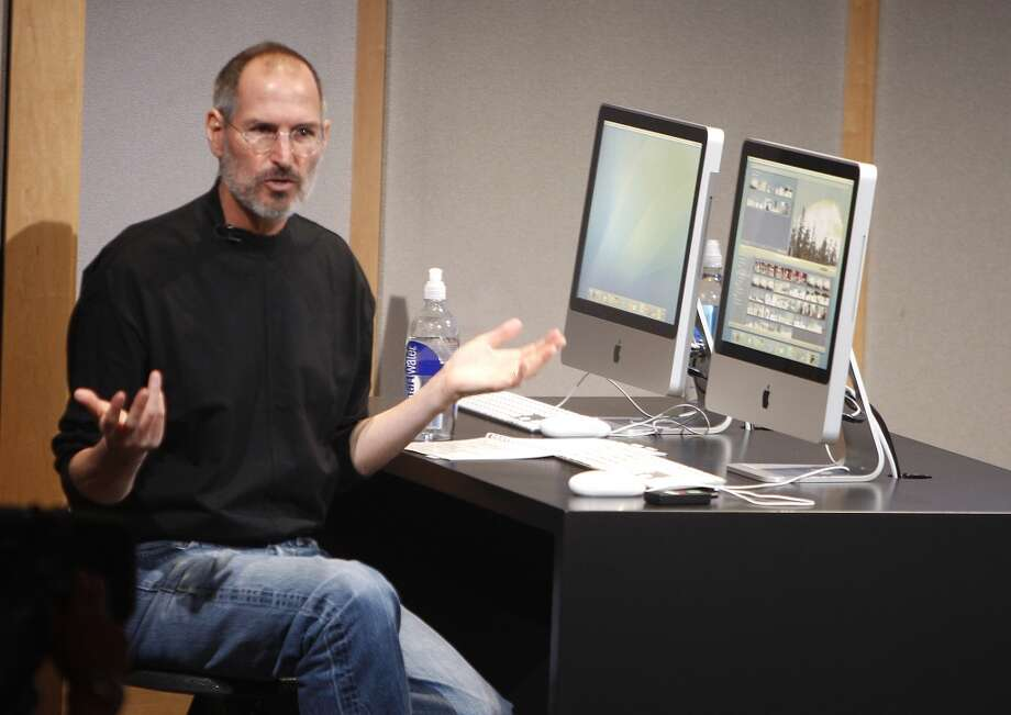 Steve Jobs unveils the new iMac and iLife program at Apple headquarters on August 7, 2007. Photo: Kurt Rogers, The Chronicle