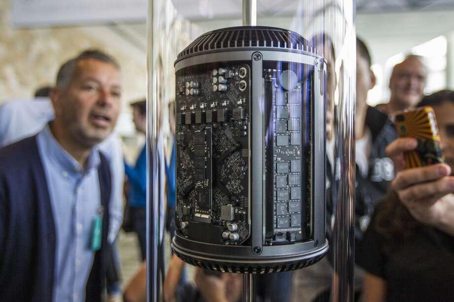 Here's a new Mac Pro at the 2013 Apple WWDC at the Moscone Center in San Francisco. Let's celebrate Mac's birthday by reviewing its 30-year evolution. We'll start with its predecessor. Photo: Kimberly White, Getty Images