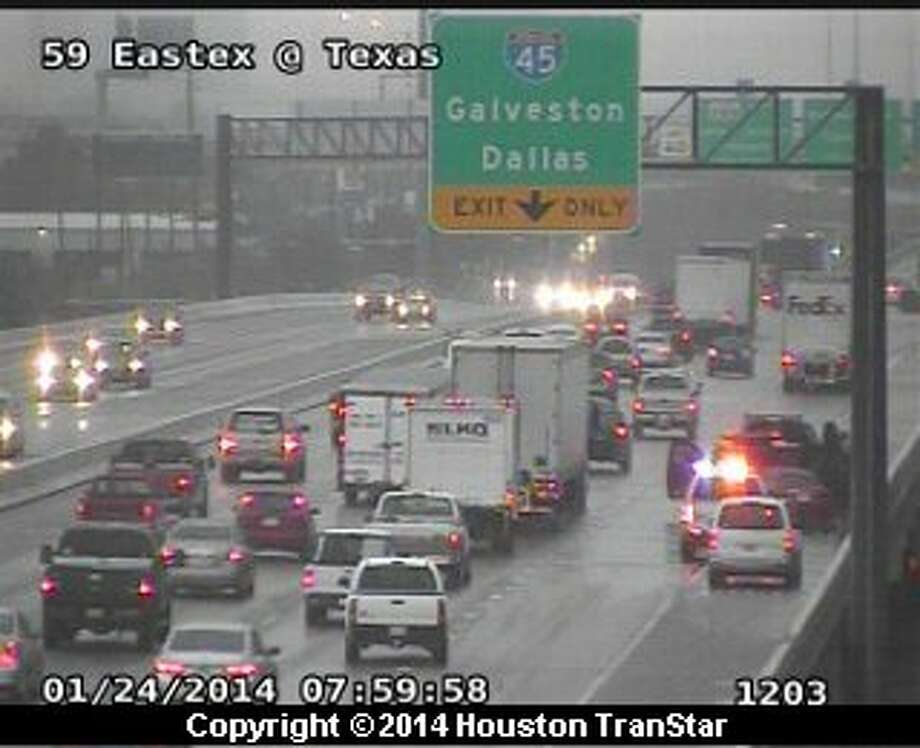 A winter storm caused significant problems on Houston's roadways, Jan. 24, 2014. (Houston Transtar)