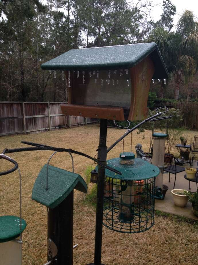 Ice hangs down from a bird feeder Friday morning, Jan. 24, 2013. A winter storm caused significant problems around Houston. (Cindy Horswell)