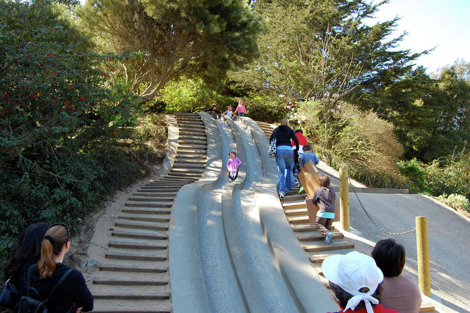 Zip down the slides, climb up the rope structure, and swing across the monkey bars at Golden Gate Park's Children's Quarter, originally built in 1887 and recognized as our nation's first-ever public playground.