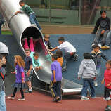 Zip down the 25-foot tube slide at the Yerba Buena Gardens Play Circle.