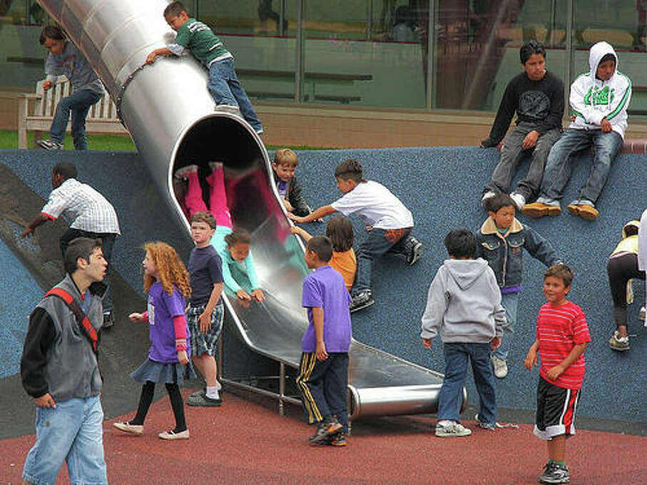 Zip down the 25-foot tube slide at the Yerba Buena Gardens Play Circle. Photo: Flickr, Ron Rothbart