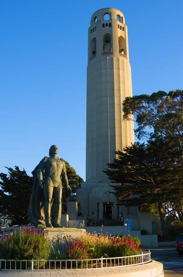 Visit Coit Tower–and ride the elevator that takes you to the top of the 210-foot tower in the elevator. Photo: Shutterstock, Andy Z