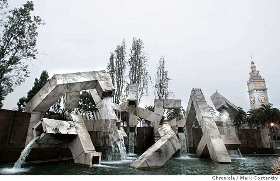 Explore Justin Herman Plaza's Vaillancourt Fountain with walkways that allow you to walk over, under and through its waterfalls. Photo: The Chronicle